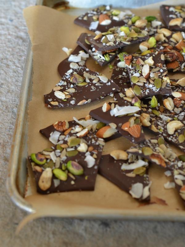 Dark Chocolate Salted Trail Mix Bark, www.mountainmamacooks.com