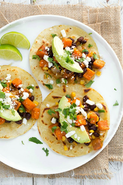 Honey-Lime Sweet Potato, Black Bean and Corn Tacos