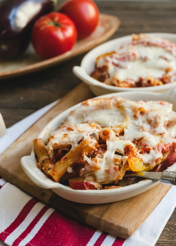 Baked Ziti with Roasted Eggplant and Peppers  www.kitchenconfidante.com-2