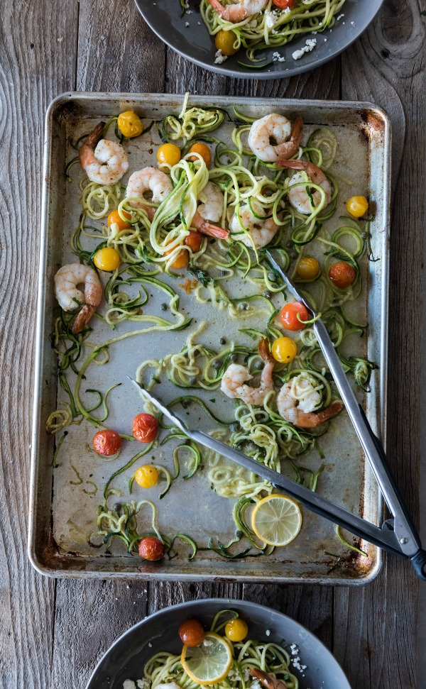 Shrimp Zoodles Sheet Pan Dinner | www.mountainmamacooks.com